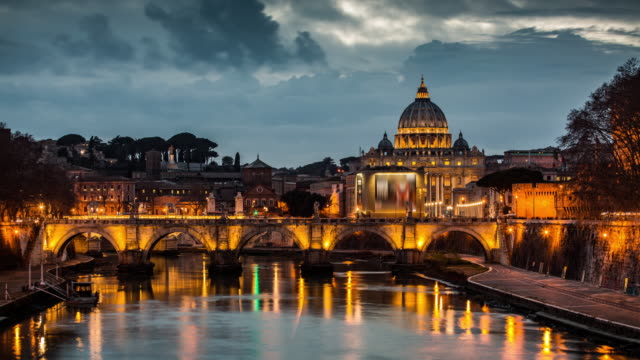 rome tiber and st peters basilica vatican italy - time lapse - rome italy stock videos and b-roll footage