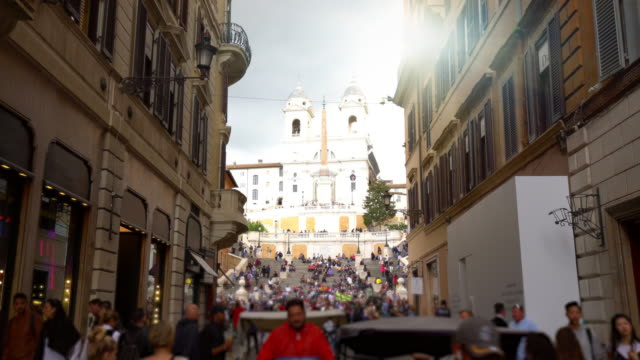rome with spanish stairs, time lapse - treppe stock videos and b-roll footage