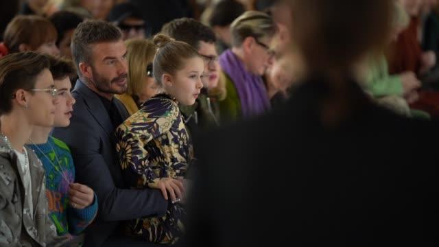 romeo beckham, cruz beckham, david beckham, harper beckham at london fashion week a/w 2020 - victoria beckham at banqueting house on february 16,... - fashion show stock videos & royalty-free footage