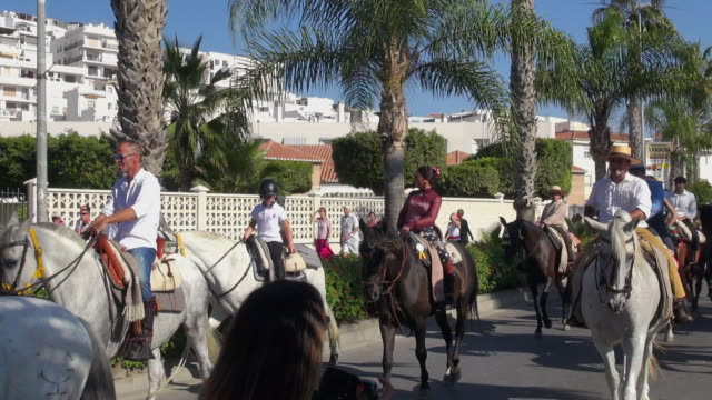 romería fiesta celebration and procession in spain - religious celebration stock videos & royalty-free footage