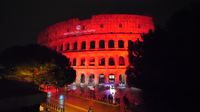 Rome's Coliseum was lit up in red on Saturday as the family of Asia Bibi a Christian Pakistani woman sentenced to death for blasphemy and a young...