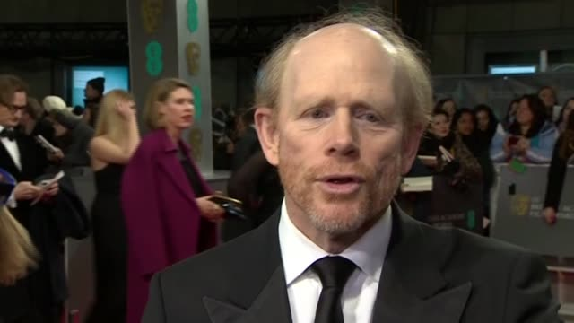 ron howard speaks about daniel bruhl's portrayal of niki lauda during red carpet interview at the baftas 2014 - 2014 stock videos & royalty-free footage