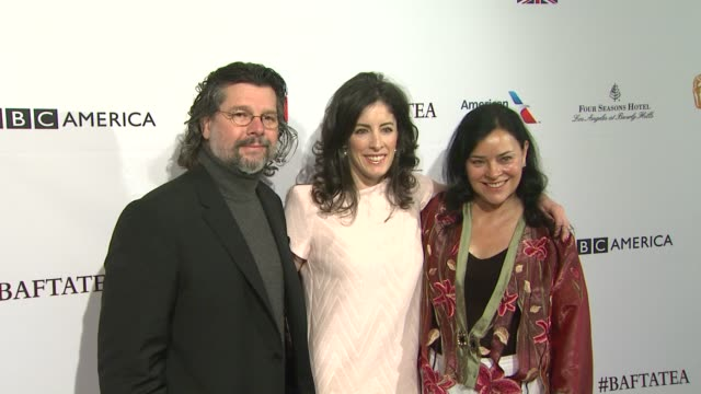 ronald d moore diana gabaldon and maril davis at the bafta los angeles awards season tea party at four seasons hotel los angeles at beverly hills on... - tea party stock videos and b-roll footage