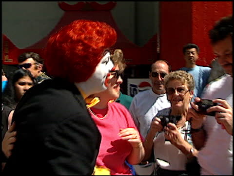 ronald mcdonald at the ronald macdonald prints at grauman's chinese theatre in hollywood california on may 7 1996 - mcdonald's stock-videos und b-roll-filmmaterial