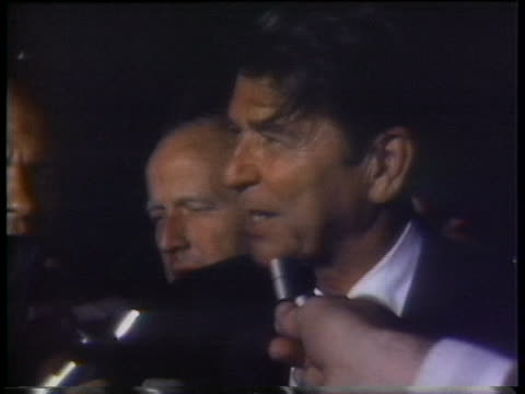 stockvideo's en b-roll-footage met ronald reagan, 1976 republican party candidate for the u.s. presidency, says he is very happy with his state primary victories in south dakota and... - zuid dakota