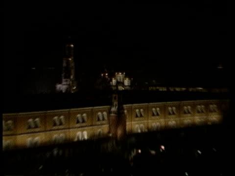 Ronald Reagan and his Defence Budget ITN TS Exterior Kremlin PULL OUT lit up at night