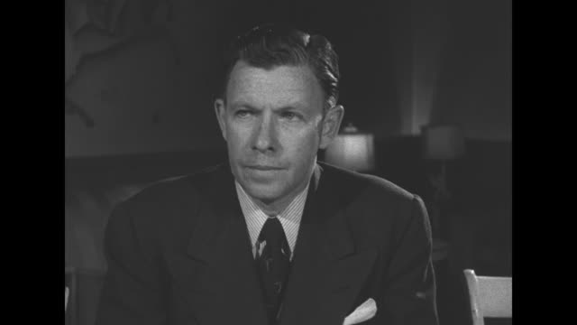 ronald reagan and jane wyman at photo opportunity for screen actors guild statement on hollywood labor union strike / george murphy listens / june... - screen actors guild stock videos & royalty-free footage