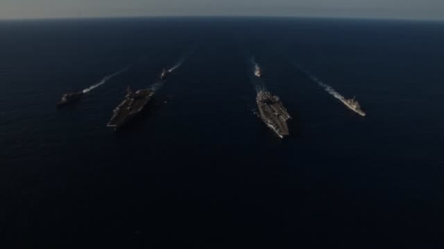ronald reagan and uss john c stennis are transit the philippine sea as part of a dual carrier strike force exercise. - us navy stock videos & royalty-free footage
