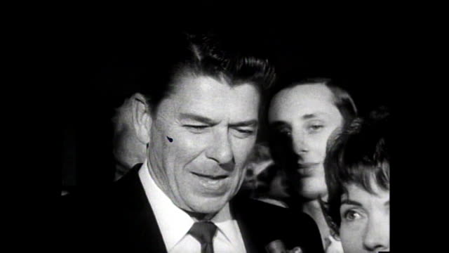 ronald reagan interview talks about the kind of movies being made in the sixties - ronald reagan präsident der usa stock-videos und b-roll-filmmaterial
