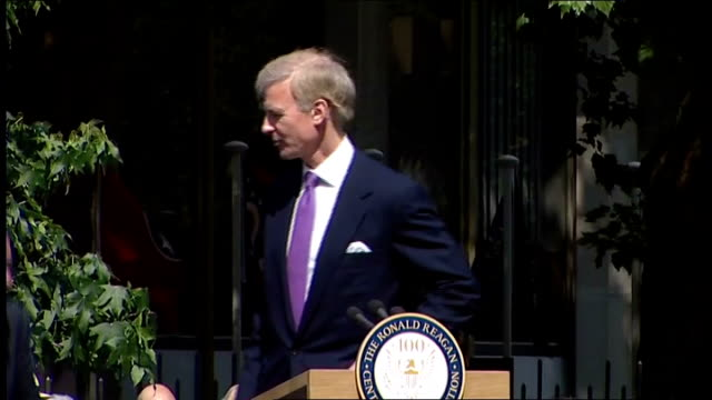 Ronald Reagan statue unveiled in Grosvernor Square Fred Ryan speech introducing William Hague SOT William Hague speech SOT proud we have made a home...