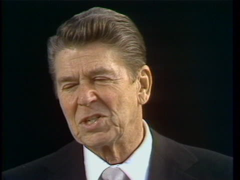 ronald reagan talks about limited government during the address at his first inauguration in 1981. - united states and (politics or government) stock videos & royalty-free footage