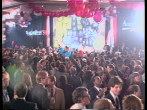 ronald reagan wins presidential election itn washington republican hq wall map showing states pull back to jubilant crowd cms reagan supporters... - presidential election stock videos & royalty-free footage