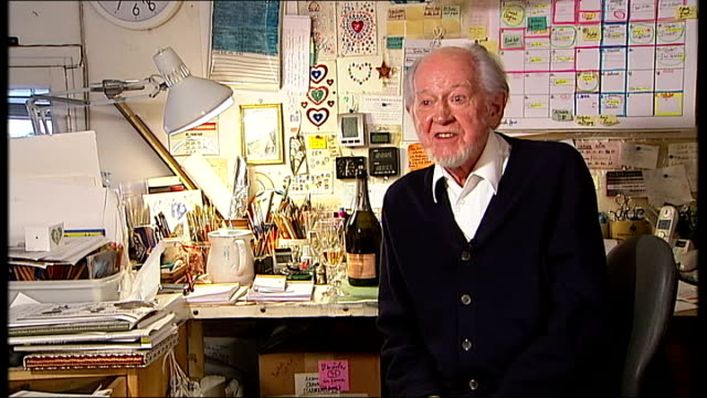 ronald searle interview sot reporter chatting to ronald searle and wife monica searle ronald and monica searle ronald searle interview sot - ronald searle stock videos & royalty-free footage