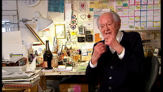 ronald searle interview sot searle pouring champagne into reporter's glass ronald searle interview sot - ronald searle stock videos & royalty-free footage