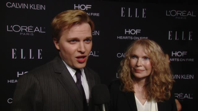 interview ronan farrow and mia farrow on you're presenting tonight's honoree what can you say about her on how does it feel to be honored among this... - mia farrow stock videos & royalty-free footage