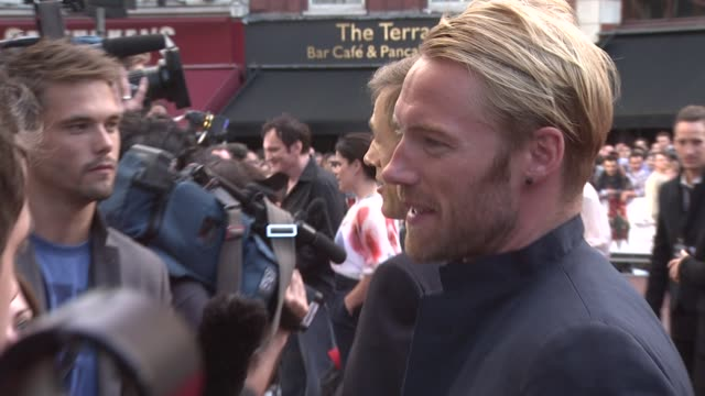 ronan keating at the inglourious basterds uk premiere at london england. - ronan keating stock videos & royalty-free footage