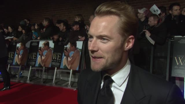 ronan keating on madonna the icon, music, mi4, his new album w.e. uk premiere at odeon kensington on january 11, 2012 in london, england - ronan keating stock videos & royalty-free footage