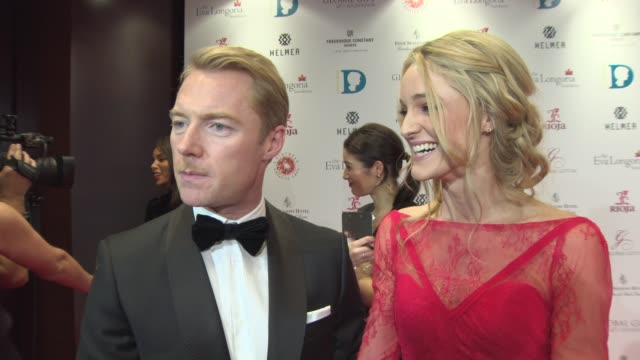 ronan keating, storm keating on coming to the event, becoming an actor, hard to break into film, being proud of ronan at the london global gift gala... - ronan keating stock videos & royalty-free footage