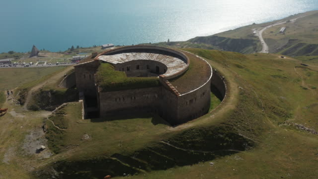 roncia fort near mont cenis lake - aerial view - rhône-alpes, savoy, france - fortress stock videos & royalty-free footage