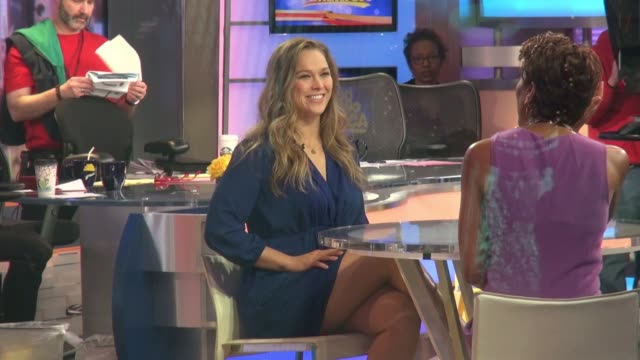 ronda rousey being interviewed on the good morning america show in celebrity sightings in new york - good morning america stock videos and b-roll footage