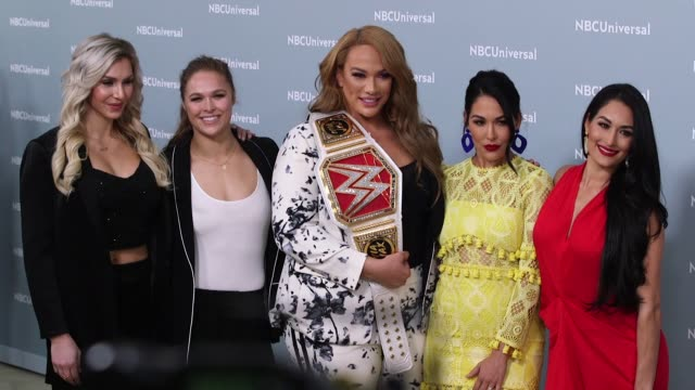 Ronda Rousey Niz Jax Charlotte Flair Nikki Bella and Brie Bella at the NBCUniversal's Upfront Presentation 2018 at Radio City Music Hall on May 14...