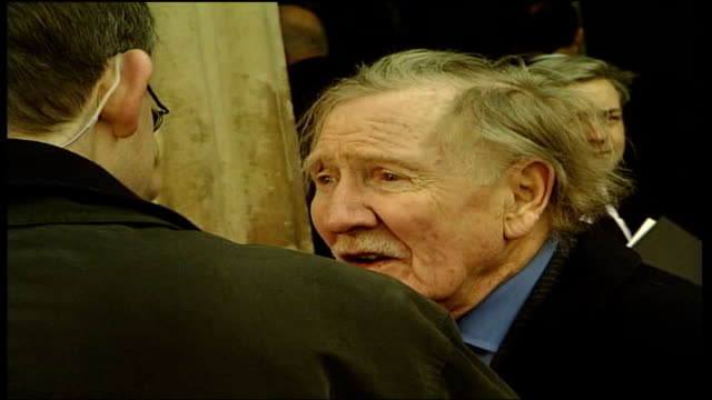 ronnie barker memorial service; england: london: westminster abbey: ext general view guests arriving for ronnie barker's memorial service back view... - terry wogan stock-videos und b-roll-filmmaterial