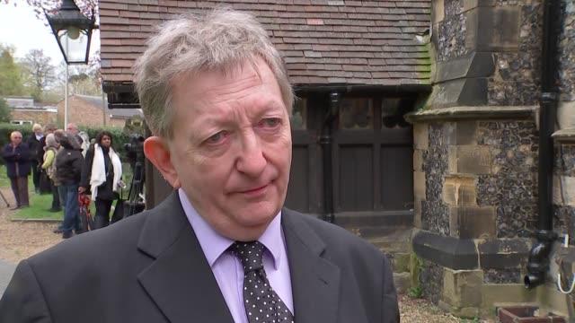 ronnie corbett funeral; england: london: croydon: shirley: ext general views church of st. john the evangelist michael thornton interview sot - ronnie corbett stock-videos und b-roll-filmmaterial