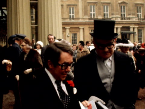Ronnie Corbett Ronnie Barker BUCK CEREMONIES Investitures EXT ENGLAND London Buckingham Palace Ronnie Corbett and Ronnie Barker interview