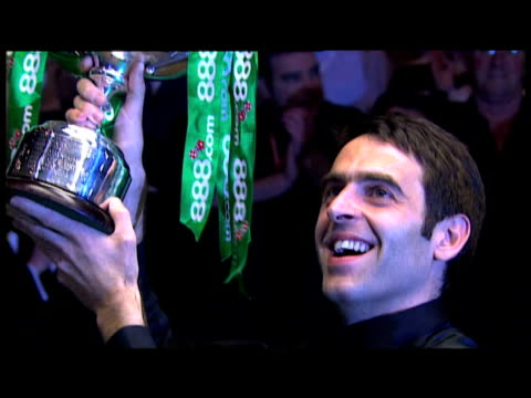 ronnie o'sullivan lifts trophy and acknowledges crowd world snooker championship final the crucible 04 may 2008 - pool cue sport stock videos & royalty-free footage
