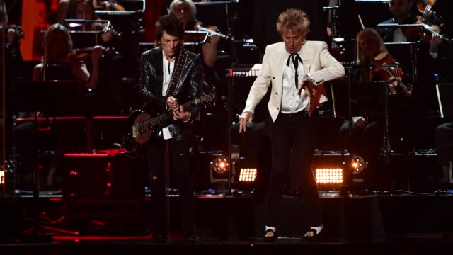ronnie wood and rod stewart of the faces perform during the brit awards 2020 at the o2 arena on february 18, 2020 in london, england. - performance stock videos & royalty-free footage
