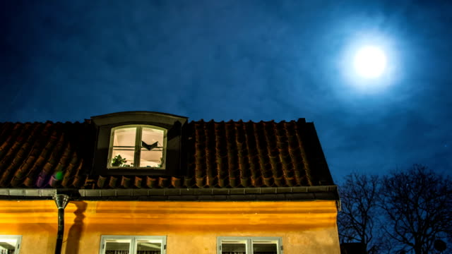stockvideo's en b-roll-footage met roof and moon time lapse - stadsdeel