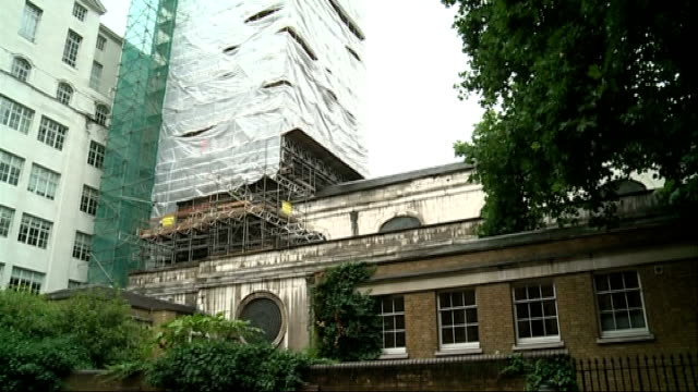 roof appeal to save church spire of st bride's church in fleet street england london fleet street ext scaffolding and canvass around st bride's... - spire stock videos & royalty-free footage