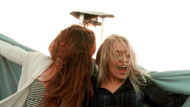 SLOW MOTION - Roof Deck Party Girl Friends Selfie