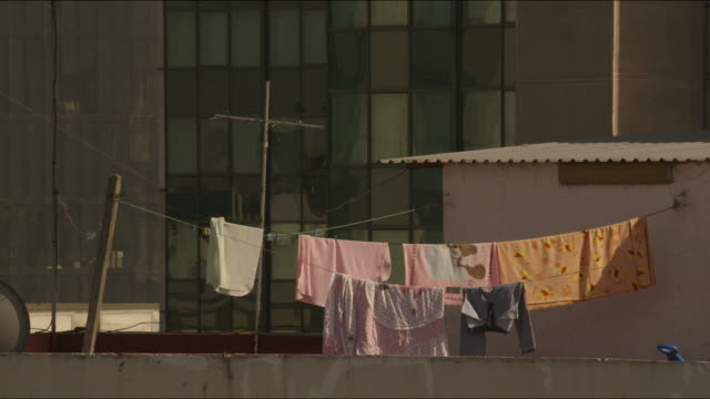Roof laundry in Mexico city skyline