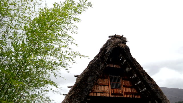roof of gassho-zukuri a shirakawago have a windstorm, gassho farmhouse - farmhouse stock videos & royalty-free footage