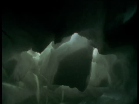 roof of ice den falls in, svalbard - grotto cave stock videos and b-roll footage