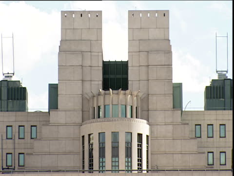 roof of post-modern mi6 building vauxhall - postmodern stock videos and b-roll footage