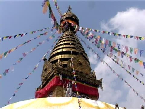 roof of swayambhunath stupa, kathmandu - golden roof stock videos and b-roll footage