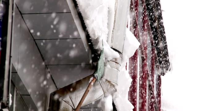 vídeos de stock e filmes b-roll de roof rake removing winter snow - ancinho equipamento de jardinagem