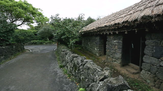 ms pan roof thatched house in traditional village / jeju-do, south korea - thatched roof stock videos & royalty-free footage
