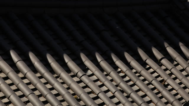 roof tile's shadow at songgwangsa temple / suncheon-si, jeollanam-do, south korea - jeollanam do stock videos & royalty-free footage