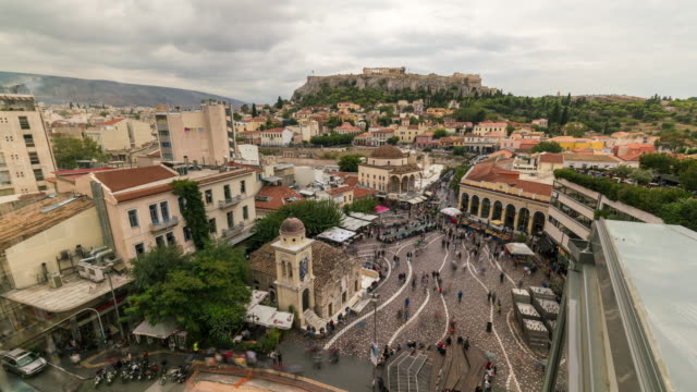 Roof Top Timelapse of Monastiraki Square in Athens