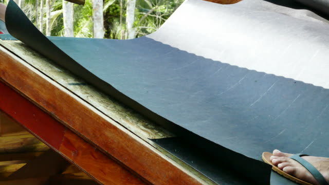 Roofer roofing material to the roof