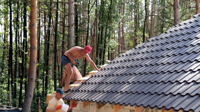 Roofers build a roof.