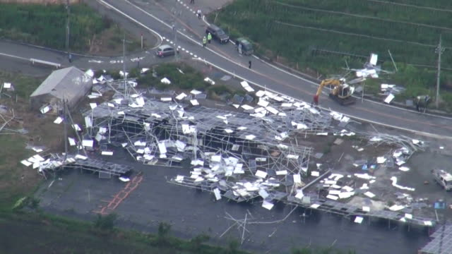 roofs and cars were blown away and a woman was injured by strong gusty winds that swept across cities of isezaki and maebashi gunma prefecture north... - north pacific stock videos & royalty-free footage
