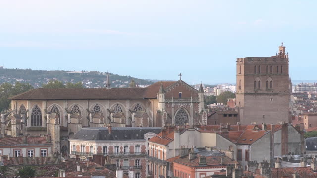 roofs and towers of toulouse cathedral - toulouse stock videos & royalty-free footage