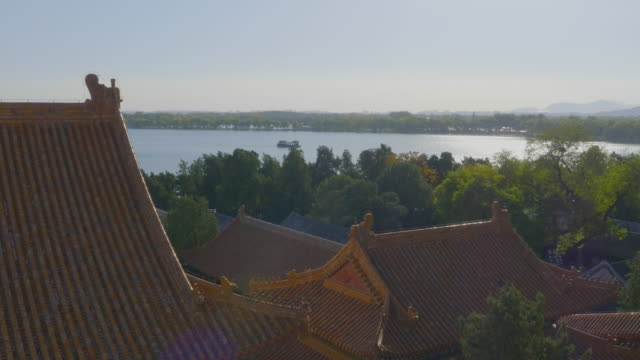 MS Roofs of Chinese style buildings and lake in Summer Palace, UNESCO World Heritage Site, Beijing, China