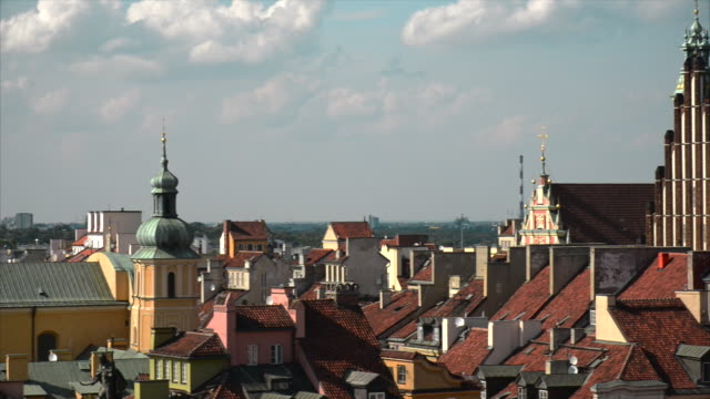 roofs of old town - warsaw stock videos and b-roll footage