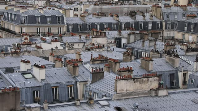 roofs of parisian haussmanian buildings pictured during a visit of the saint-joseph-des-nations church bell tower and porch restoration site on... - housing development stock videos & royalty-free footage