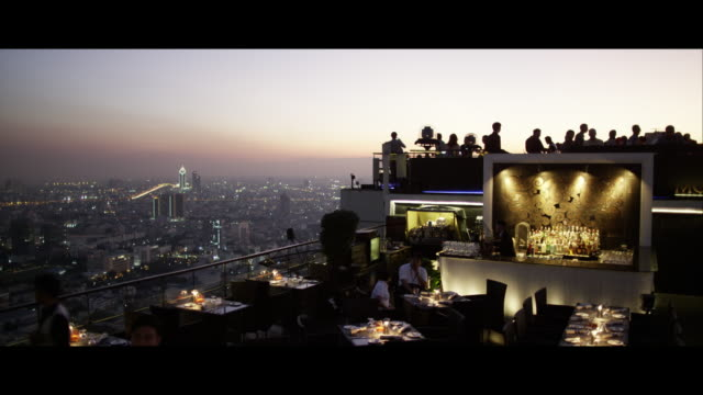 rooftop bar in bangkok - rooftop stock videos & royalty-free footage
